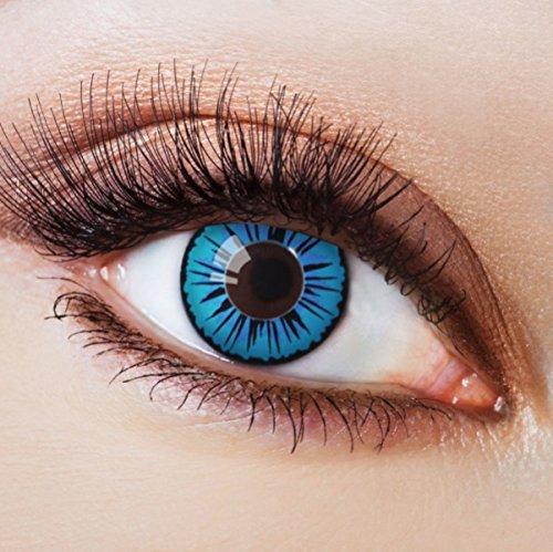 Farbige Kontaktlinsen Blau Ohne Stärke Blaue Crazy Jahreslinsen Motiv-Linsen Farbig Halloween Karneval Fasching Cosplay Kostüm Türkis Blau Schwarz Rand Anime