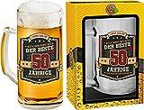 Abc Casa Bierkrug 0,5l mit Aufschrift zum 50. Geburtstag für alle Biertrinker - Aufschrift Der Beste 50 Jährige - originell verwendbares Geschenk für 50-Jährige im Geschenkbox