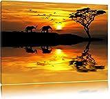 Elefanten in Afrikanischer Steppe Format: 80x60 auf Leinwand, XXL riesige Bilder fertig gerahmt mit Keilrahmen, Kunstdruck auf Wandbild mit Rahmen, günstiger als Gemälde oder Ölbild, kein Poster oder Plakat