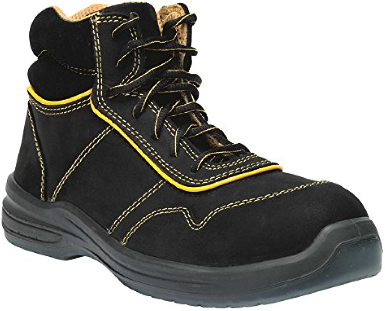 GSA 1034325005 par de zapatillas altas Zenon S3 SRC, negro/amarillo, 39