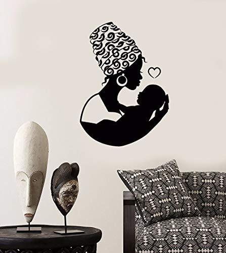 Womens Mutter (Wandtattoo African Native Woman Mutter Mit Baby Wandaufkleber Removable Home Schlafzimmer Kunstwand Mutter Liebe Aufkleber 57 * 80 cm)