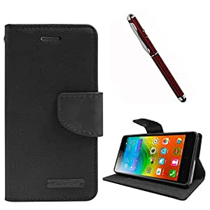 DMG Premium Canvas Diary Wallet Folio Book Cover for Lenovo K3 Note (Black) + 4in1 Laser Torch Stylus Pen