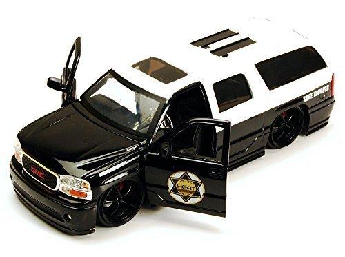 gmc-yukon-denali-state-trooper-suv-black-white-jada-toys-heat-96368-1-24-scale-diecast-model-toy-car