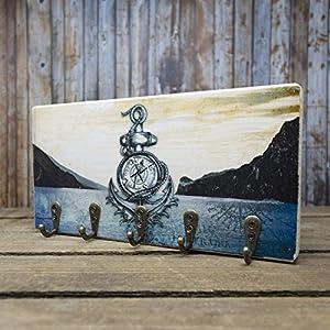 elbPLANKE mit Haken – Lago di Garda (Gardasee) | 12×24 cm | Schlüsselbrett von Fotoart-Hamburg | mit 5 Antike Haken aus Holz (Kiefer/Fichte) – 100% Handmade