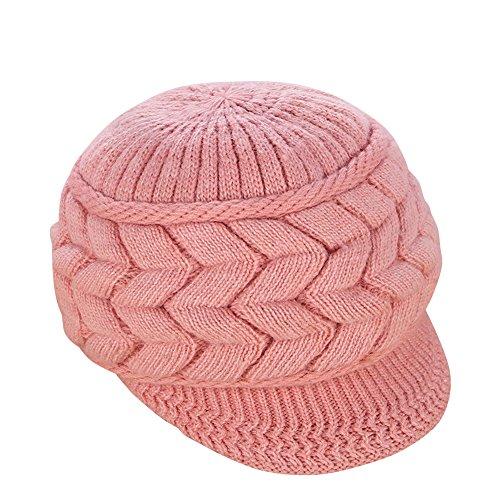 Mujer Vintage elegante Lana Boina Gorro Invierno Cálido Color sólido  Sombrero de invierno Rubber Pink c515e44c0e9
