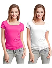 Fashion Line Cotton Lycra Tshirt for Girls/Women (Pink & White, Pack of 2)