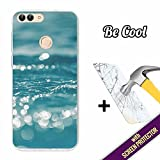 Huawei P Smart Cover Gel Flexible, [ +1 Tempered Glass Screen Protector ], TPU BeCool® Case made of Silicone, protects your Smartphone, with our exclusive designs - Water sheens.