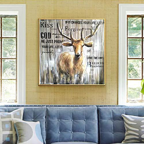 CPDZ Ölgemälde auf der Wand der Kunst für den Wanddekor Auspicious Deer 100% handbemalte Leinwand Einfach Moderne Abstraktion für die Hausdekorationswand -