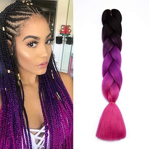 Extension treccine per capelli treccia finta kanekalon trecce braiding hair una ciocca braids extensions fibre 100g, nero/viola/fucsia