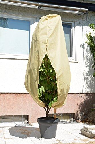 Mega Plante de Capot de protection avec fermeture éclair et cordon – Beige – H : 1,60 m, B : 1,30 m, 45 g/m² Polypropylène Plante Protection