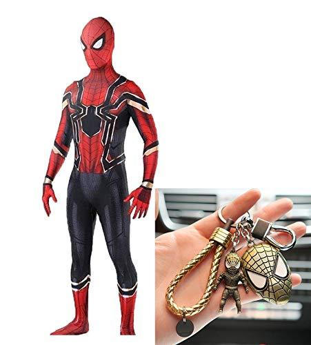 Iron Muster Kostüm Mann - Iron Spiderman Cosplay Stretch Strumpfhose Adult 3D Print Halloween Kleid + Spiderman Keychain Set,Red-M