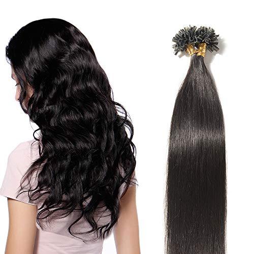 Extensions Keratine Pose a Chaud Extension Cheveux Naturel 100 Mèches/50g #1B Noir naturel - Pre Bonded Nail U Tip Remy Human Hair Extensions - 55cm