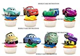 24 x Disney Cars STAND UP Edible Paper Cupcake Toppers Cake Decorations