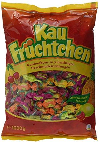 Kau Früchtchen - Leckere Kau Bonbons mit fruchtigengeschmacksrichtungen für Klein undgroß - (1 x 1 kg Beutel)