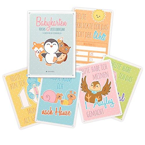 Navaris baby cards per neonato - memory set 36 carte illustrate ricordi primo anno per bambini e genitori foto album crescita in tedesco