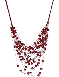 Collar Fantasía 16hileras cordón textil y cristales rojo brillantes–48cm–Bijou tarde Mujer
