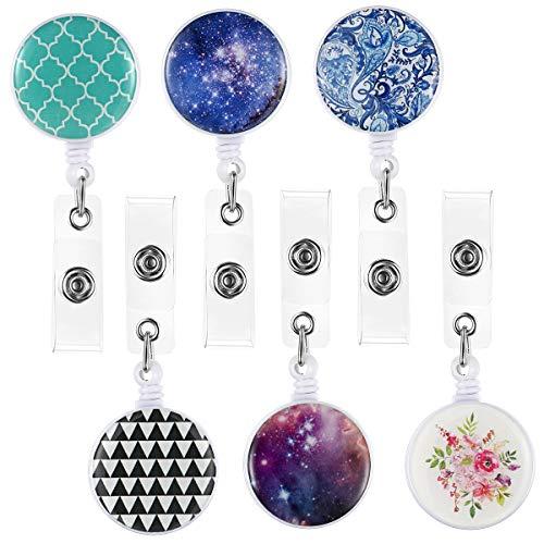 Ausweishalter mit Clips, Ausweis-Spulen, niedliches Namensschild, Schlüsselband, Krankenschwester, 6 Stück Multicolored - Style 1 -