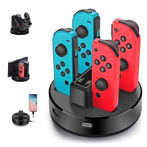 Opard Ladestation für Nintendo Switch Controller 4 in 1 Joy-Con Ladestation/Pro Controller Ladegrät mit LED-Anzeige