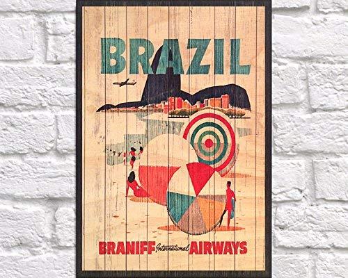 CPWood 28 x 29 cm Brasilien Reiseposter Vintage Brasilien Art Art Print Brasil Art Print Holz Wand Deko Reise Geschenk für Männer Geschenk für Freund Paneeleffekt Holzschild 11 x 11,5 cb657020
