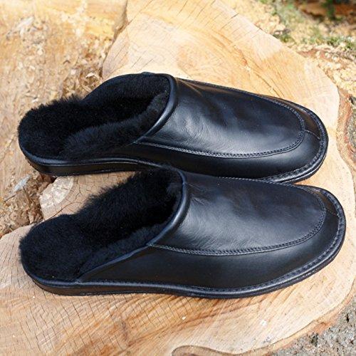Peau de mouton Chaussons - JAN Pantoufles Pour Hommes Noir
