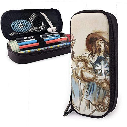 Drei Musketiere eine handgezeichnete Freihand Niedliche Feder Bleistiftetui Leder Bleistiftbeutel Tasche Stifthalter Box