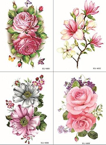 Grashine 4pcs toxiques étanches et non dans un seul paquet, il y compris 4pcs fleurs colorées, roses, pivoines et tatouages temporaires lily
