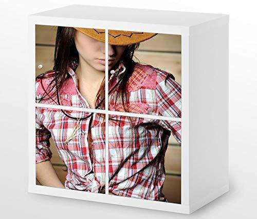 Set Möbelaufkleber für Ikea Kallax 4 Fächer/Schubladen Sexy Frau Cowgirl Cowboy Hut Kat3 Erotik Schlafzimmer Aufkleber Möbelfolie sticker (Ohne Möbel) Folie 25H255 (Cowgirl-folie)