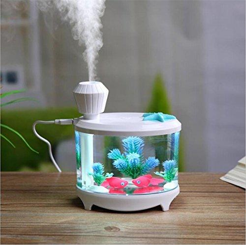 USB que carga las luces del tanque de pescados Humidificador Mini hogar pequeño Voltaje ligero de la noche: 5V Aplicable a: Dormitorio Sitio del bebé de la oficina Sitio de la sala del hotel Café , white