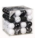 64x Kunststoff Christbaumkugeln Ø 6cm Kugel Box Glanz Glitzer Matt Dekor Inge, Farbe:Schwarz-Weiß