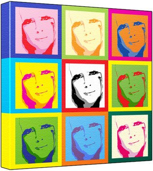 Lady Gaga - Pop Art Print (3-Tone; Andy Warhol's Che Guevara Style) 50 x 50 x 2 cm Large Square Deep Box Canvas