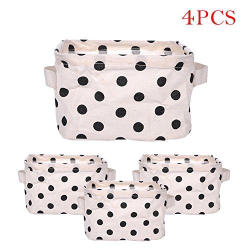 4Faltbare Mini Quadratisch Leinen & Baumwolle Stoff Lagerkästen Aufbewahrungskörbe Organisatoren für Regale & Schreibtische von Samber D