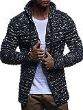 LEIF NELSON Men's Knit Jacket with Hood Knitt Zip Up Cardigan Hoodie LN20724