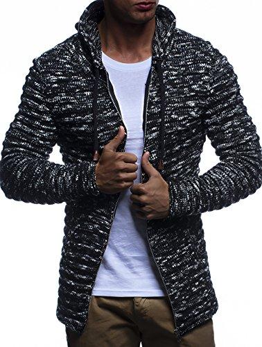 LEIF NELSON Herren Hoodie Strickjacke Kapuzenpullover Jacke Hoody Sweatjacke Zipper Sweatshirt Longsleeve LN20724; Größe L, Schwarz
