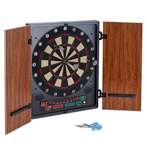 oneConcept Dartmaster 180 elektronische Dartscheibe Dartautomat Dartboard (12 Pfeile und Ersatzspitzen, Softtip-Darts, Türen) braun