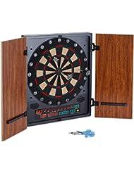 oneConcept Dartmaster 180 elektronische Dartscheibe Dartautomat Dartboard (12 Pfeile und Ersatzspitzen, Softtip-Darts, Türen) braun oder beige
