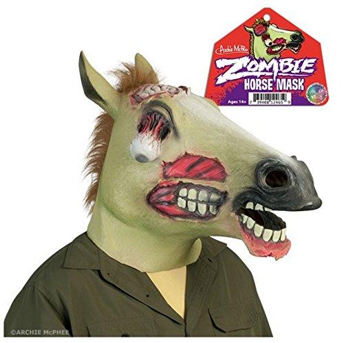 Halloween Zombie Pferdemaske - Leuchtet im Dunkeln & Postkarte