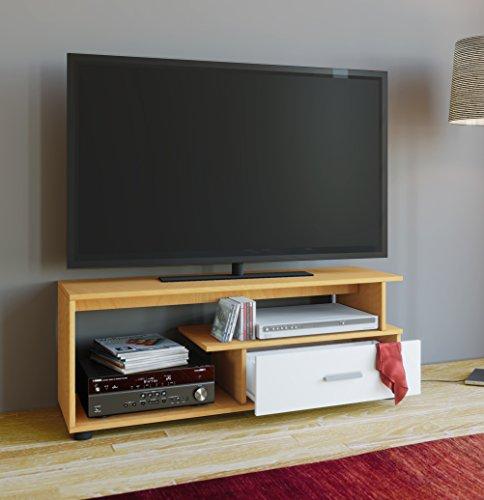 """VCM TV Lowboard Tisch Schrank Rack Konsole Fernsehtisch Möbel Bank Holz Buche/Weiß 43 x 110 x 40 cm """"Rimini"""""""