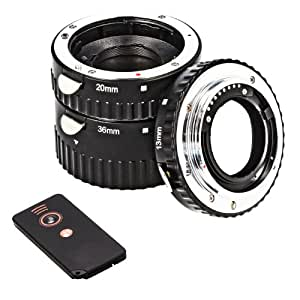 Automatik Zwischenringe 3-teilig für Makrofotographie passend zu Sony Alpha A57, A58, A65, A77, A99, A100, A200, A230, A290 (Metall Bayonett) + IR Auslöser