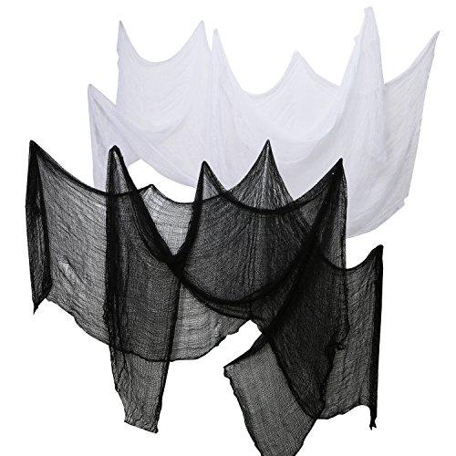 Fenster Halloween Dekor (4 Stück Halloween Gruseliges Tuch Party Dekor Drapier Laubengang Eingang Fenster Vorhang Gaze 2,2 Yards x 30 Zoll Inklusive 2 Farben (2 Schwarz und 2)
