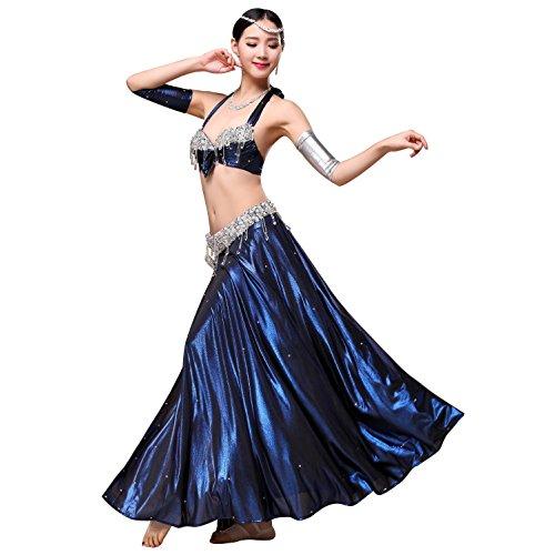 Belly Dance Kostüme High Grade Hand häkeln Dance Rock für Frauen mit Bead Side Split , royal blue , M (Street Jazz Dance Kostüme)