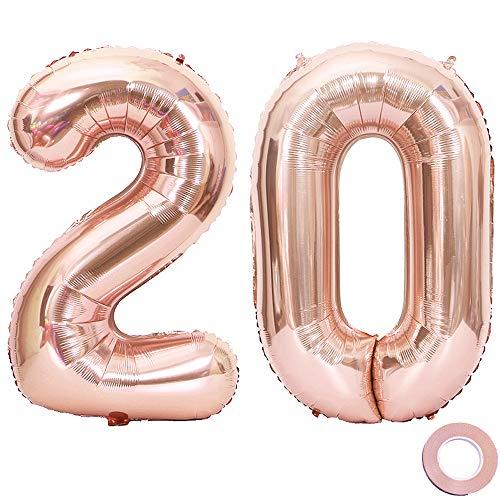 Juland Luftballons 20. Geburtstag XXL Riesen Folienballon Luftballon Zahl 20 Rose Gold Nummer Ballons Große Folienmylar-Ballons 40-Zoll-Riesen-Jumbo-Zahl-Ballons für 20. Geburtstagsfeierdekorationen 20