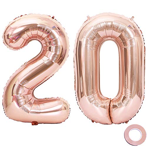 Jurxy Luftballon Zahl 20 Rosegold Geburtstag Folienballon Helium Folie Pinke Luftballons für Geburtstag Jubiläum 40 Zoll - Riesenzahlen #20