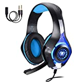 TurnRaise Juego de Auriculares, de 3,5 mm Auriculares de Juegos de Luz LED con Micrófono para iPhone de PlayStation 4 PS4 Tablet PC (Azul)