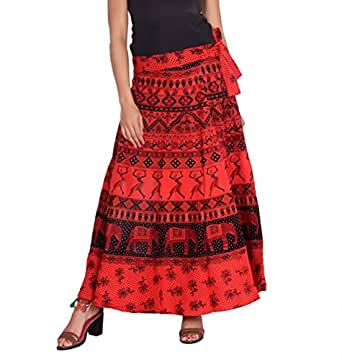 Kastiel Printed Women's Regular Red Skirt