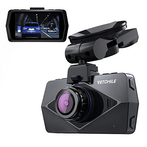 VETOMILE V2 Cámara de Coche WIFI GPS 2.5K 1440P Full HD Car Dash Cam Gran Ángulo 170° Retrovisor DVR Grabadora Vídeo de G-sensor, Modo de Estacionamiento, Detección de Movimiento, Grabación de Bucle, Súper Visión Nocturna, 2,7'' Pantalla LCD (Negro)
