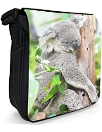 Australian Koala Small Black Canvas Shoulder Bag - Size Small