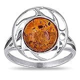 Bel Ambre - Bague Fleur d'ambre et corolle Argent rhodié - 54