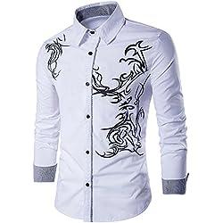 Uniqstore Camisa de Vestir con Estampado de dragón de Hombre (Blanco, 2XL)