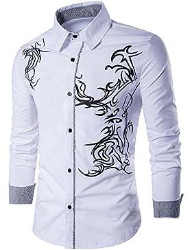 Uniqstore Camisa de vestir con estampado de dragón de hombre