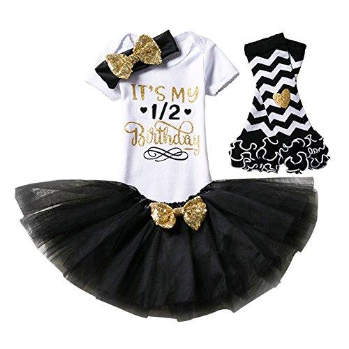 aby Mädchen Kleidung 1. 2. Geburtstag Geschenk Outfits Prinzessin Kleid Kinder Stück Romper + Rock Tütü Pettiskirt + Glitzer Bowknot Stirnband +Gamaschen (Baby Verkleiden Outfits)